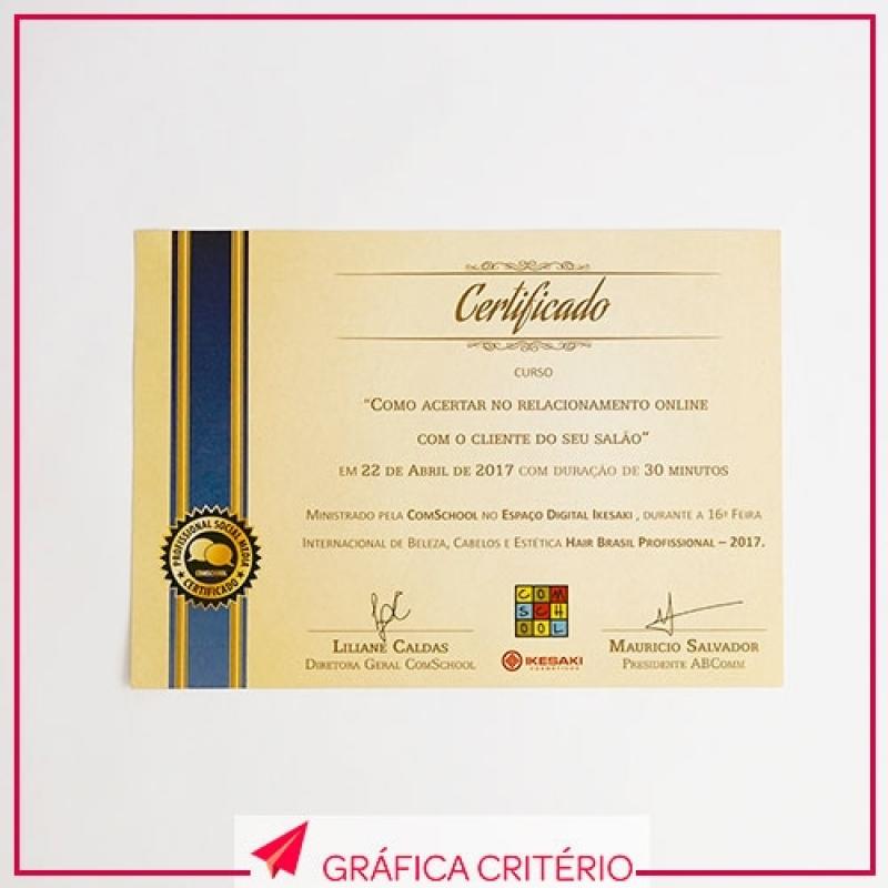 Impressão de Certificados Valor Vila Romana - Impressão de Tcc