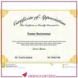impressão de certificados quanto custa Jardim Guedala